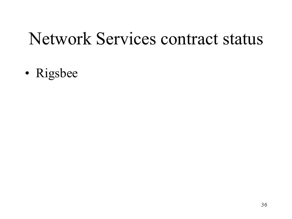 36 Network Services contract status Rigsbee