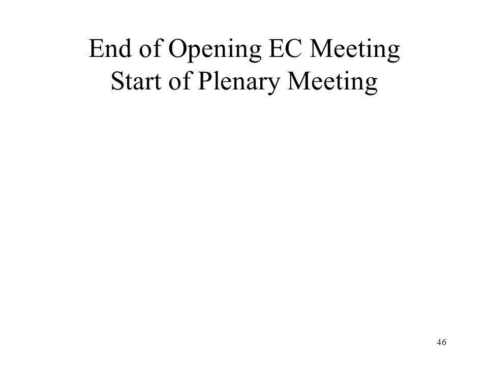 46 End of Opening EC Meeting Start of Plenary Meeting