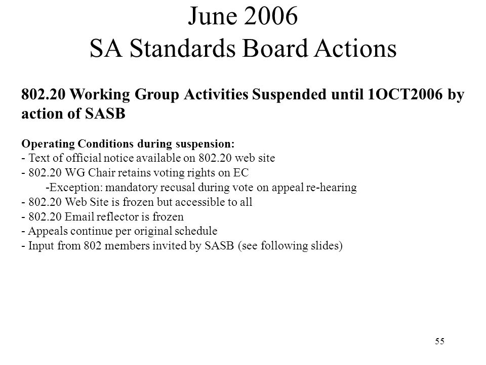 55 802.20 Working Group Activities Suspended until 1OCT2006 by action of SASB Operating Conditions during suspension: - Text of official notice available on 802.20 web site - 802.20 WG Chair retains voting rights on EC -Exception: mandatory recusal during vote on appeal re-hearing - 802.20 Web Site is frozen but accessible to all - 802.20 Email reflector is frozen - Appeals continue per original schedule - Input from 802 members invited by SASB (see following slides) June 2006 SA Standards Board Actions