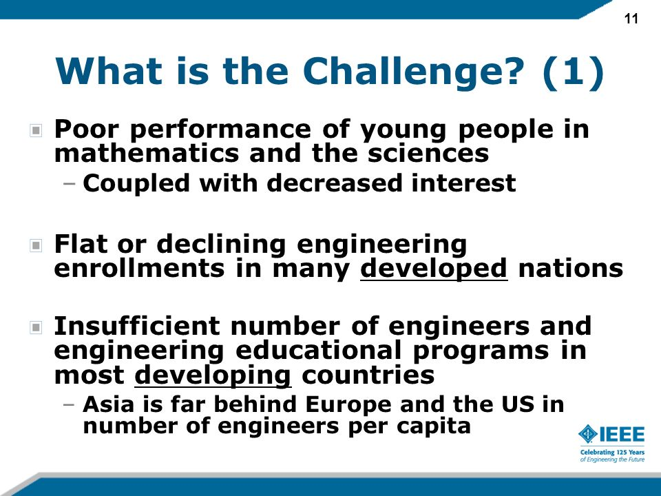 11 What is the Challenge? (1) Poor performance of young people in mathematics and the sciences –Coupled with decreased interest Flat or declining engi
