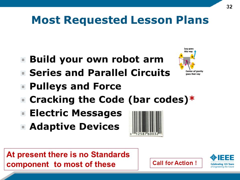 32 Most Requested Lesson Plans Build your own robot arm Series and Parallel Circuits Pulleys and Force Cracking the Code (bar codes)* Electric Messages Adaptive Devices Call for Action .