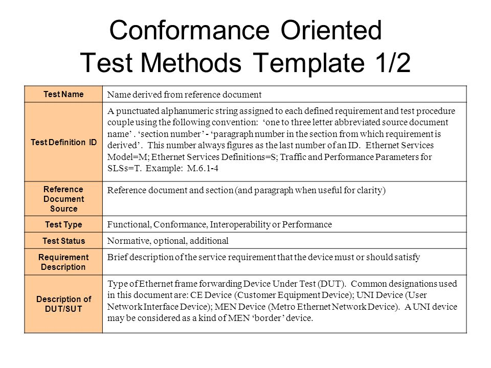 Conformance Oriented Test Methods Template 1/2 Test Name Name derived from reference document Test Definition ID A punctuated alphanumeric string assigned to each defined requirement and test procedure couple using the following convention: one to three letter abbreviated source document name.