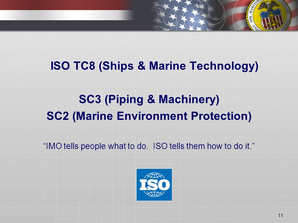 11 ISO TC8 (Ships & Marine Technology) SC3 (Piping & Machinery) SC2 (Marine Environment Protection) IMO tells people what to do.