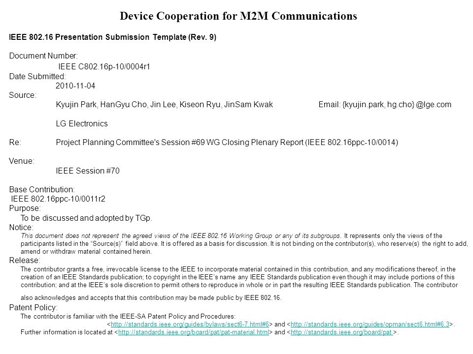 Device Cooperation for M2M Communications IEEE 802.16 Presentation Submission Template (Rev.