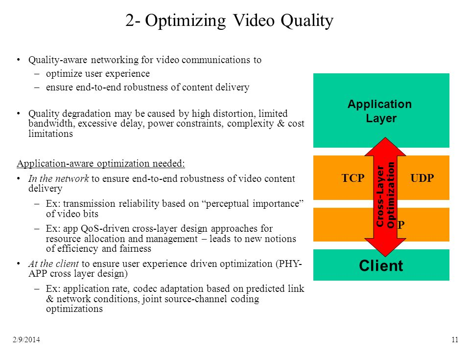 112/9/2014 2- Optimizing Video Quality Quality-aware networking for video communications to – –optimize user experience – –ensure end-to-end robustness of content delivery Quality degradation may be caused by high distortion, limited bandwidth, excessive delay, power constraints, complexity & cost limitations Application-aware optimization needed: In the network to ensure end-to-end robustness of video content delivery – –Ex: transmission reliability based on perceptual importance of video bits – –Ex: app QoS-driven cross-layer design approaches for resource allocation and management – leads to new notions of efficiency and fairness At the client to ensure user experience driven optimization (PHY- APP cross layer design) – –Ex: application rate, codec adaptation based on predicted link & network conditions, joint source-channel coding optimizations Application Layer Client IP TCPUDP Cross-Layer Optimization