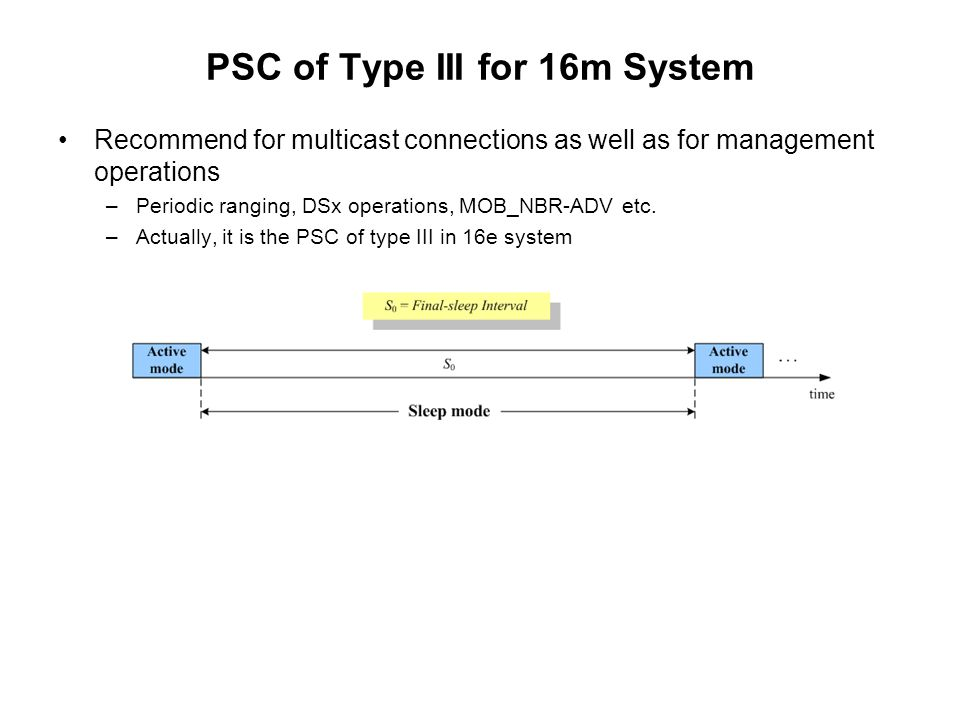 PSC of Type III for 16m System Recommend for multicast connections as well as for management operations –Periodic ranging, DSx operations, MOB_NBR-ADV etc.