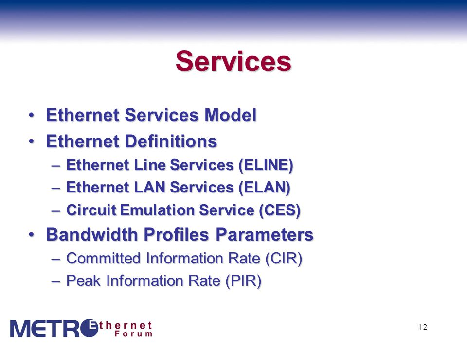 13 Transport and Protocol ProtectionProtection –Protection Framework describes a model and framework to deliver network protection schemes EMFEMF –Ethernet Multiplexor provides a subset of the functions under discussion at IEEE 802.1 Provider Bridges EoSEoS –Agreements for transport of Ethernet over Sonet