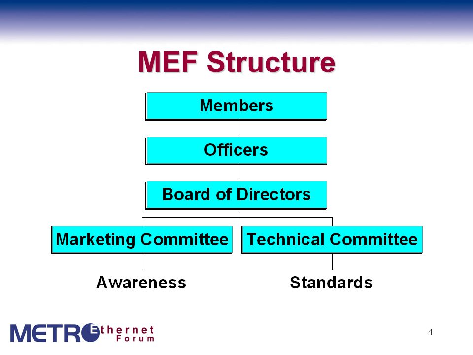 5 MEF: Diverse Leadership The MEF Board of Directors is comprised of representatives from: –BellSouth –SBC –France Telecom –Rockefeller Group Telecommunications Services –Agilent Technologies –Procket Networks –Atrica –Nortel Networks –Alcatel For more information about the MEF leadership please visit http://www.MetroEthernetForum.org/