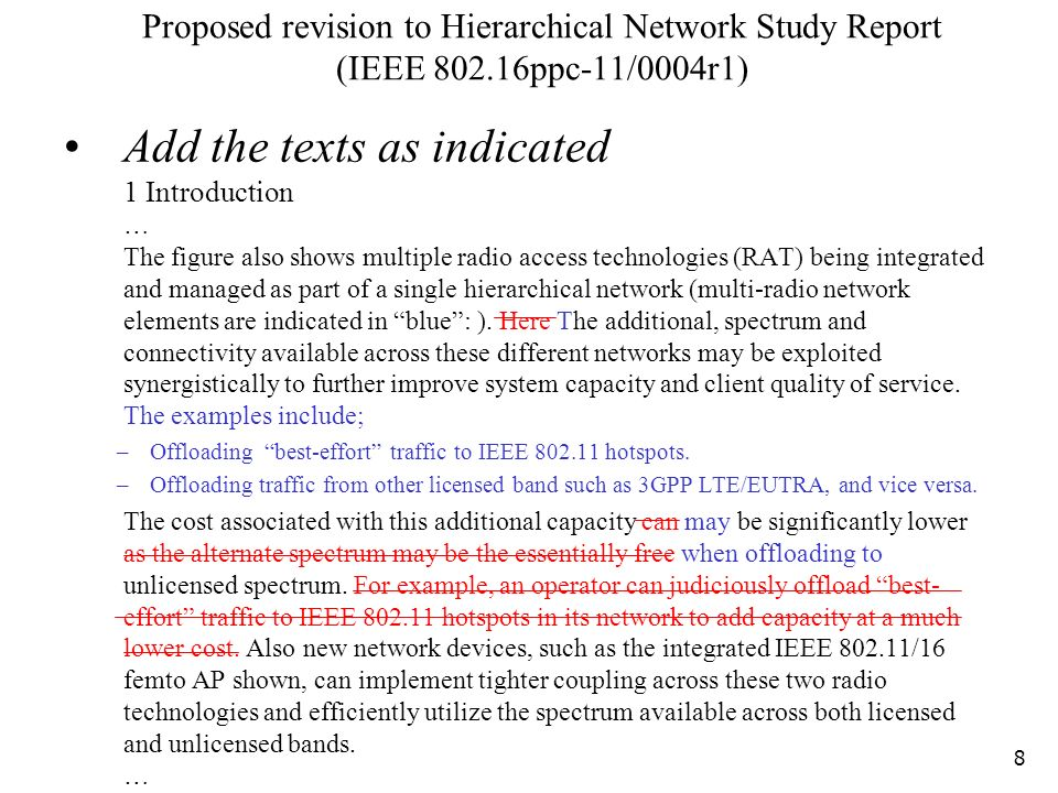 Proposed revision to Hierarchical Network Study Report (IEEE ppc-11/0004r1) Add the texts as indicated 1 Introduction … The figure also shows multiple radio access technologies (RAT) being integrated and managed as part of a single hierarchical network (multi-radio network elements are indicated in blue: ).