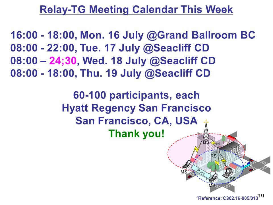 10 *Reference: C /013 Relay-TG Meeting Calendar This Week 16: :00, Mon.