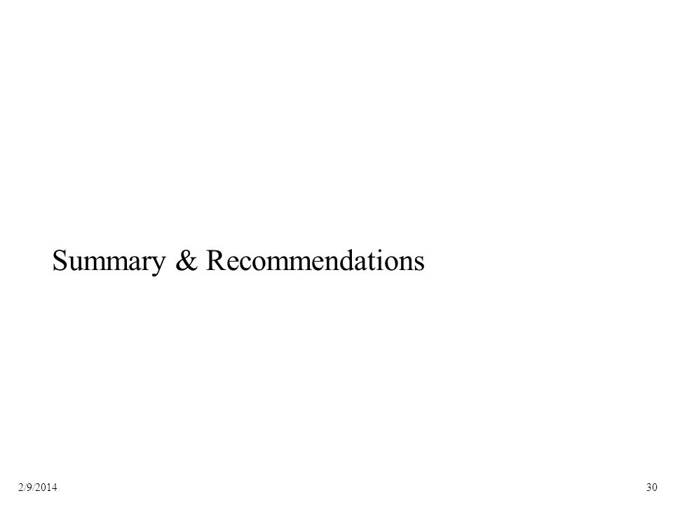 302/9/2014 Summary & Recommendations