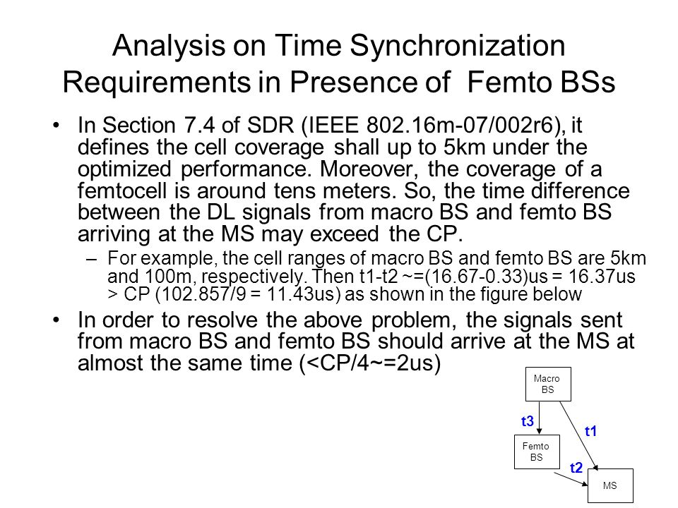 Analysis on Time Synchronization Requirements in Presence of Femto BSs In Section 7.4 of SDR (IEEE 802.16m-07/002r6), it defines the cell coverage shall up to 5km under the optimized performance.