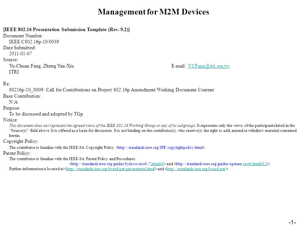-1- Management for M2M Devices [IEEE Presentation Submission Template (Rev.
