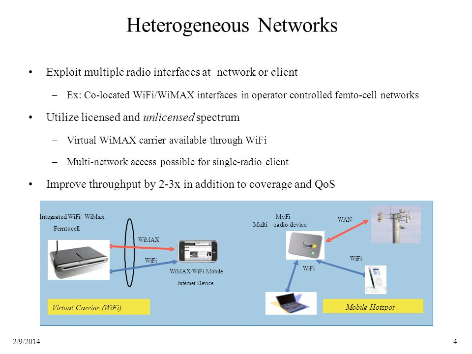 42/9/2014 Heterogeneous Networks Exploit multiple radio interfaces at network or client –Ex: Co-located WiFi/WiMAX interfaces in operator controlled femto-cell networks Utilize licensed and unlicensed spectrum –Virtual WiMAX carrier available through WiFi –Multi-network access possible for single-radio client Improve throughput by 2-3x in addition to coverage and QoS WiMAX/WiFi Mobile Internet Device WiMAX Integrated WiFi/ WiMax Femtocell Simultaneous Multi-radio Operation WiFi WAN WiFi Mobile Hotspot MyFi Multi-radio device WiMAX/WiFi Mobile Internet Device WiMAX Integrated WiFi/ WiMax Femtocell Virtual Carrier (WiFi) WiFi WAN WiFi Mobile Hotspot MyFi Multi - radio device