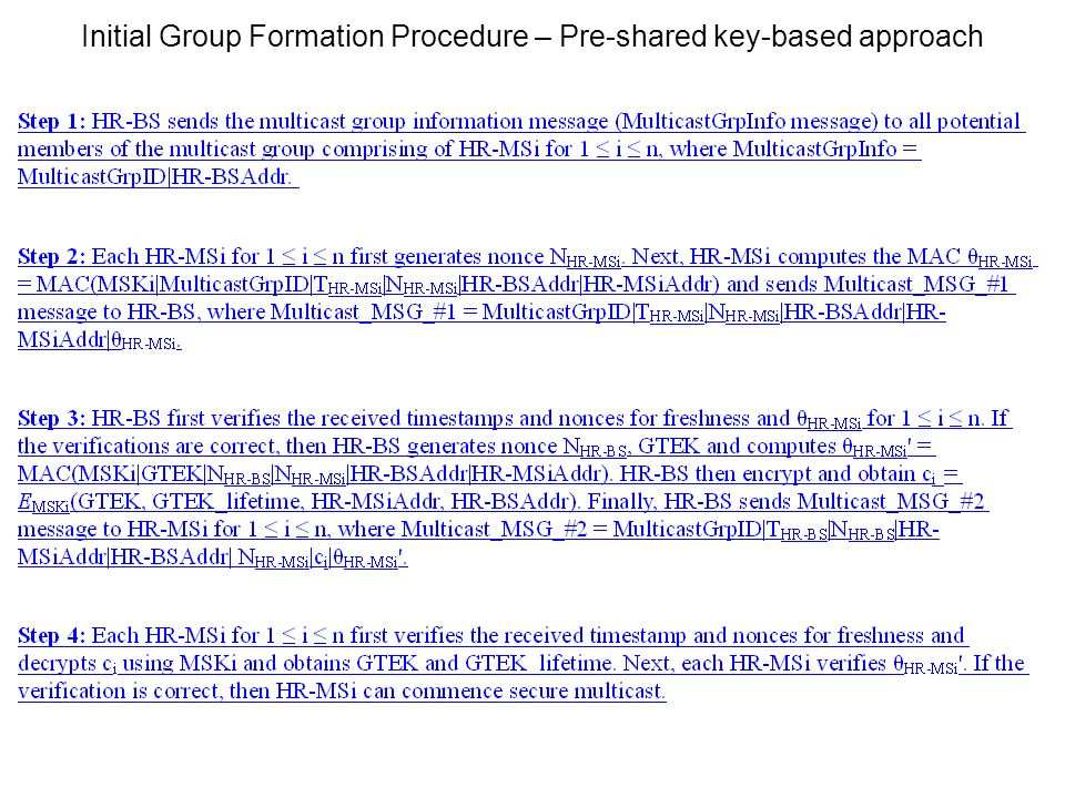 Initial Group Formation Procedure – Pre-shared key-based approach