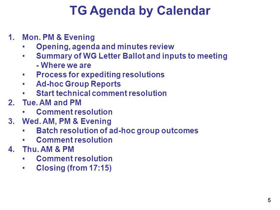 5 5 TG Agenda by Calendar 1.Mon.