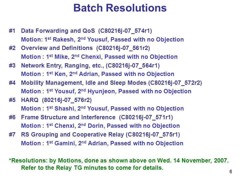 6 Batch Resolutions #1Data Forwarding and QoS (C80216j-07_574r1) Motion: 1 st Rakesh, 2 nd Yousuf, Passed with no Objection #2Overview and Definitions (C80216j-07_561r2) Motion : 1 st Mike, 2 nd Chenxi, Passed with no Objection #3Network Entry, Ranging, etc., (C80216j-07_564r1) Motion : 1 st Ken, 2 nd Adrian, Passed with no Objection #4Mobility Management, Idle and Sleep Modes (C80216j-07_572r2) Motion : 1 st Yousuf, 2 nd Hyunjeon, Passed with no Objection #5HARQ (80216j-07_576r2) Motion : 1 st Shashi, 2 nd Yousuf, Passed with no Objection #6Frame Structure and Interference (C80216j-07_571r1) Motion : 1 st Chenxi, 2 nd Dorin, Passed with no Objection #7RS Grouping and Cooperative Relay (C80216j-07_575r1) Motion : 1 st Gamini, 2 nd Adrian, Passed with no Objection *Resolutions: by Motions, done as shown above on Wed.