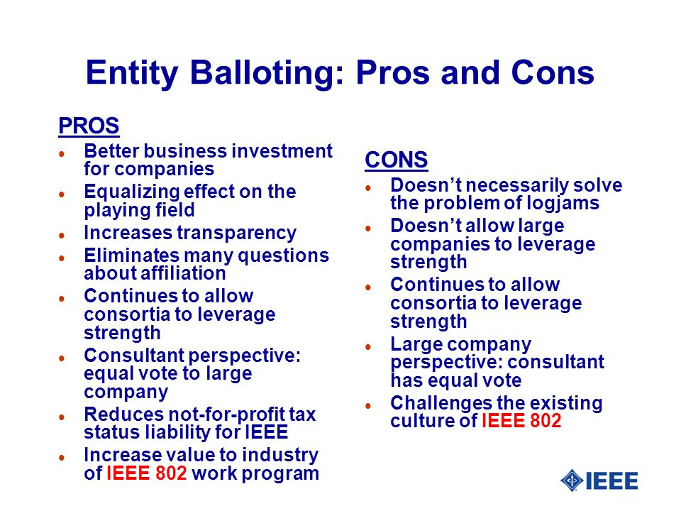 Entity Balloting: Pros and Cons PROS l Better business investment for companies l Equalizing effect on the playing field l Increases transparency l Eliminates many questions about affiliation l Continues to allow consortia to leverage strength l Consultant perspective: equal vote to large company l Reduces not-for-profit tax status liability for IEEE l Increase value to industry of IEEE 802 work program CONS l Doesnt necessarily solve the problem of logjams l Doesnt allow large companies to leverage strength l Continues to allow consortia to leverage strength l Large company perspective: consultant has equal vote l Challenges the existing culture of IEEE 802
