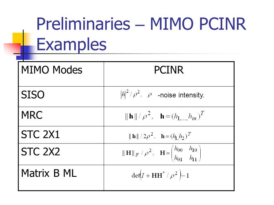 Preliminaries – MIMO PCINR Examples PCINRMIMO Modes SISO MRC STC 2X1 STC 2X2 Matrix B ML -noise intensity.