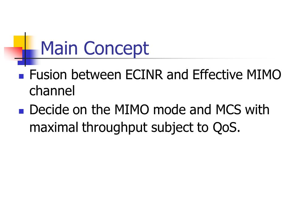 Main Concept Fusion between ECINR and Effective MIMO channel Decide on the MIMO mode and MCS with maximal throughput subject to QoS.