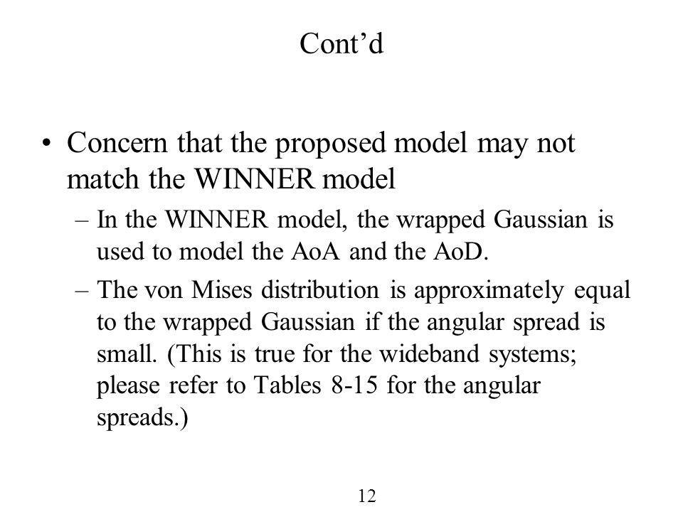 12 Contd Concern that the proposed model may not match the WINNER model –In the WINNER model, the wrapped Gaussian is used to model the AoA and the AoD.