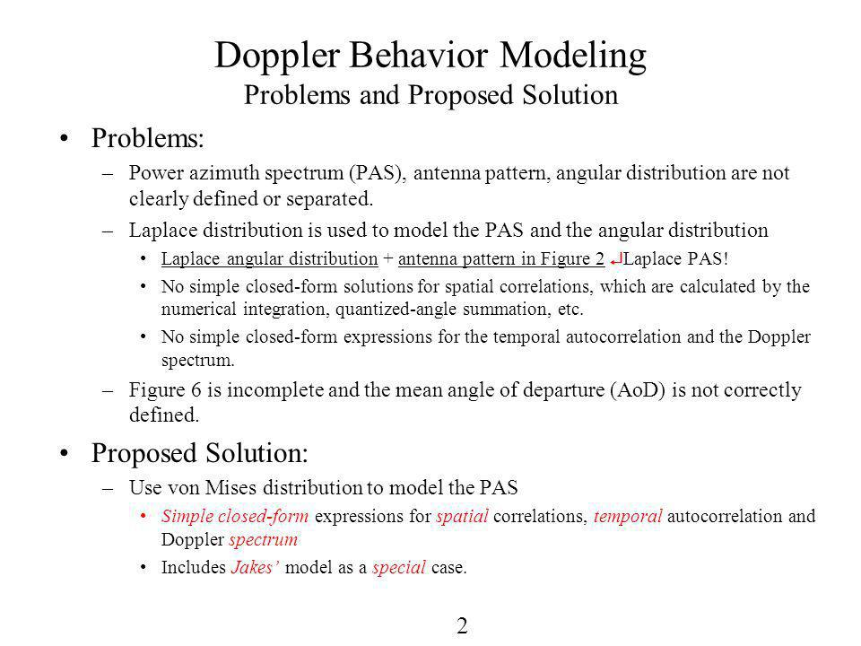 2 Doppler Behavior Modeling Problems and Proposed Solution Problems: –Power azimuth spectrum (PAS), antenna pattern, angular distribution are not clearly defined or separated.
