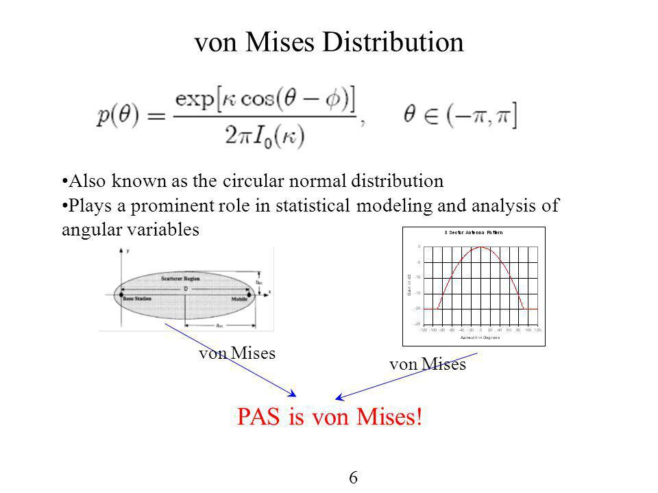 6 von Mises Distribution Also known as the circular normal distribution Plays a prominent role in statistical modeling and analysis of angular variables PAS is von Mises.