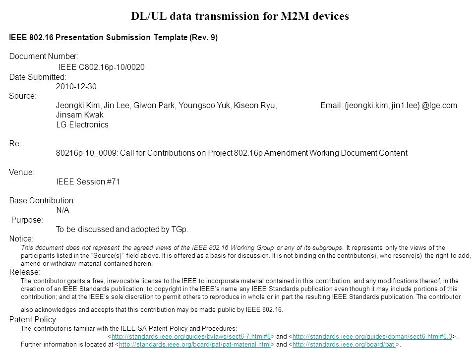 DL/UL data transmission for M2M devices IEEE 802.16 Presentation Submission Template (Rev.