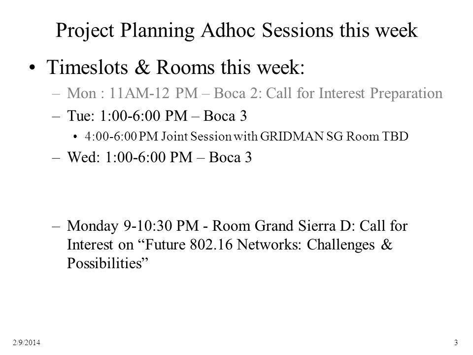 32/9/2014 Project Planning Adhoc Sessions this week Timeslots & Rooms this week: –Mon : 11AM-12 PM – Boca 2: Call for Interest Preparation –Tue: 1:00-