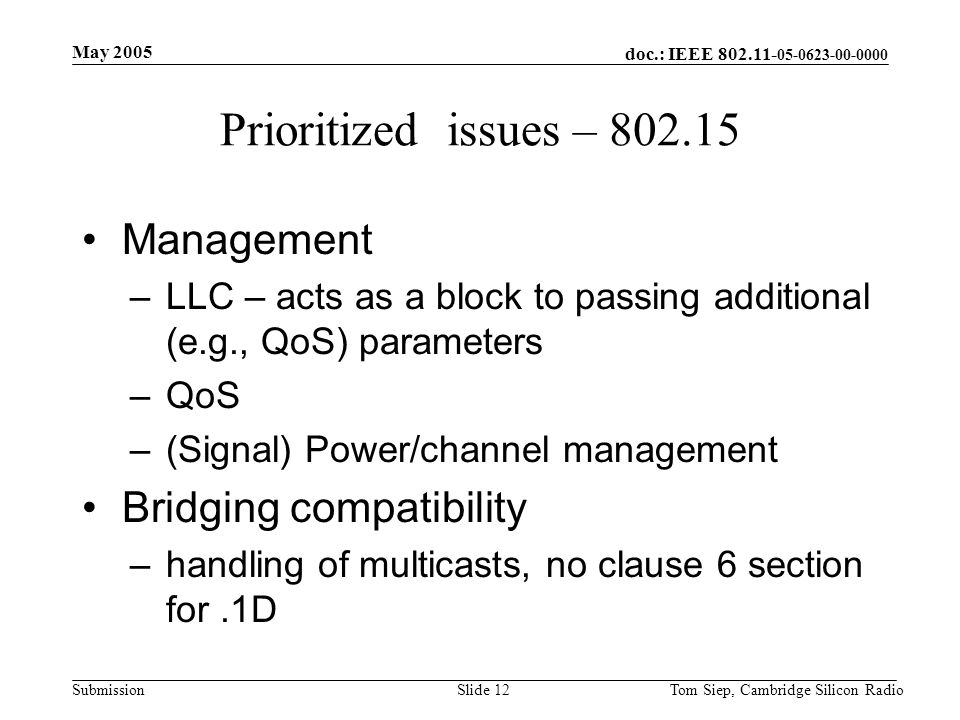 doc.: IEEE 802.11- 05-0623-00-0000 Submission May 2005 Tom Siep, Cambridge Silicon RadioSlide 12 Prioritized issues – 802.15 Management –LLC – acts as a block to passing additional (e.g., QoS) parameters –QoS –(Signal) Power/channel management Bridging compatibility –handling of multicasts, no clause 6 section for.1D