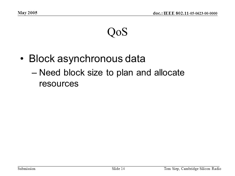 doc.: IEEE 802.11- 05-0623-00-0000 Submission May 2005 Tom Siep, Cambridge Silicon RadioSlide 14 QoS Block asynchronous data –Need block size to plan and allocate resources