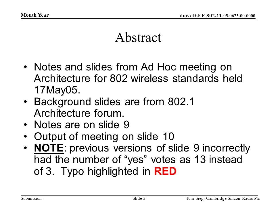 doc.: IEEE 802.11- 05-0623-00-0000 Submission Month Year Tom Siep, Cambridge Silicon Radio PlcSlide 2 Abstract Notes and slides from Ad Hoc meeting on Architecture for 802 wireless standards held 17May05.