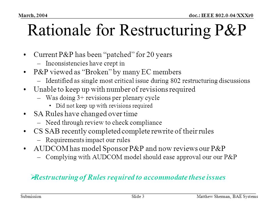 doc.: IEEE 802.0-04/XXXr0 Submission March, 2004 Matthew Sherman, BAE SystemsSlide 3 Rationale for Restructuring P&P Current P&P has been patched for 20 years –Inconsistencies have crept in P&P viewed as Broken by many EC members –Identified as single most critical issue during 802 restructuring discussions Unable to keep up with number of revisions required –Was doing 3+ revisions per plenary cycle Did not keep up with revisions required SA Rules have changed over time –Need through review to check compliance CS SAB recently completed complete rewrite of their rules –Requirements impact our rules AUDCOM has model Sponsor P&P and now reviews our P&P –Complying with AUDCOM model should ease approval our our P&P Restructuring of Rules required to accommodate these issues