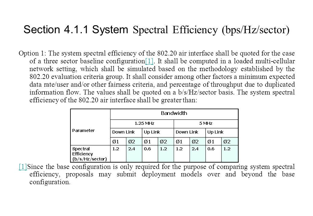 Section 4.1.1 System Spectral Efficiency (bps/Hz/sector) Option 1: The system spectral efficiency of the 802.20 air interface shall be quoted for the case of a three sector baseline configuration[1].