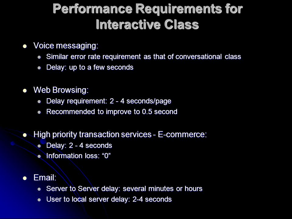 Performance Requirements for Interactive Class Voice messaging: Voice messaging: Similar error rate requirement as that of conversational class Simila
