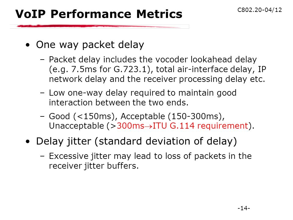 -14- C802.20-04/12 VoIP Performance Metrics One way packet delay –Packet delay includes the vocoder lookahead delay (e.g.