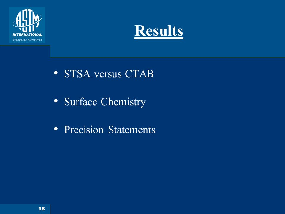 18 Results STSA versus CTAB Surface Chemistry Precision Statements