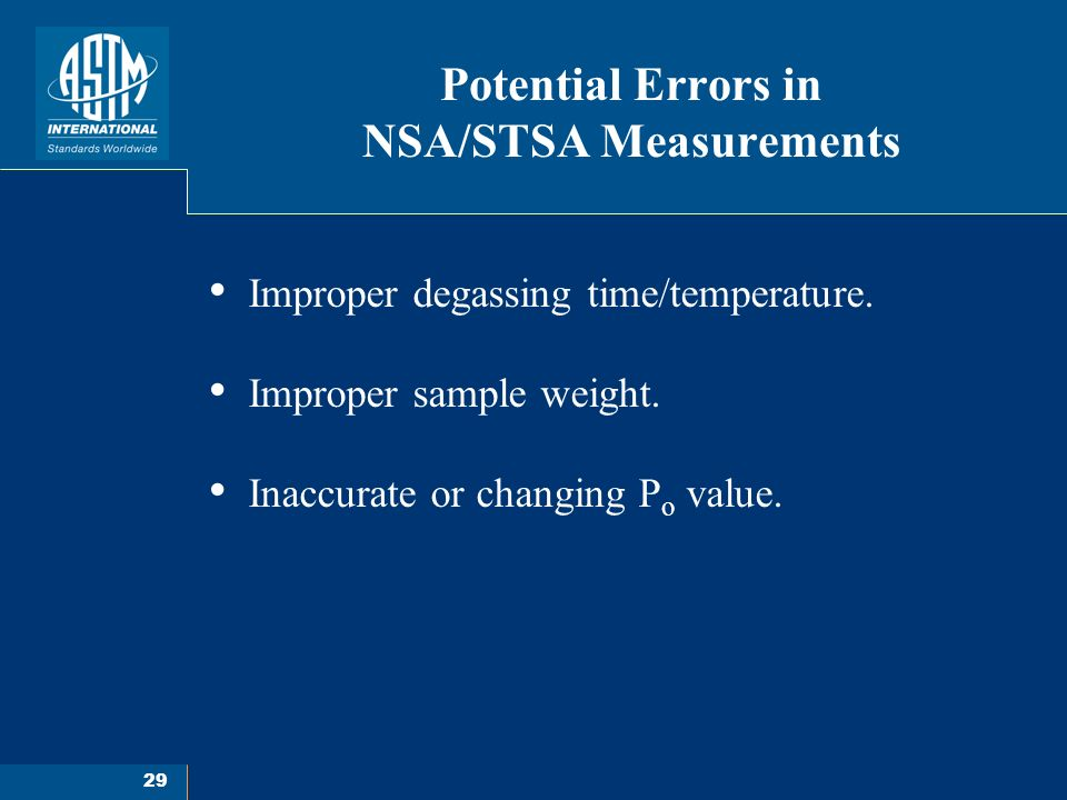 29 Potential Errors in NSA/STSA Measurements Improper degassing time/temperature.