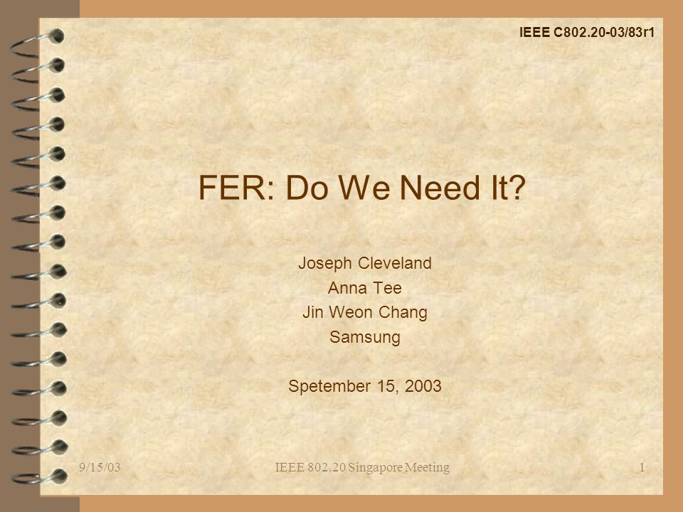 9/15/03IEEE 802.20 Singapore Meeting1 FER: Do We Need It.