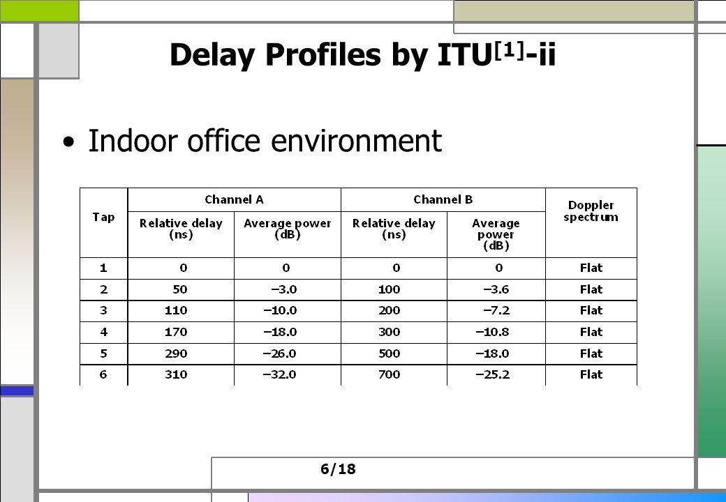 6/18 Delay Profiles by ITU [1] -ii Indoor office environment