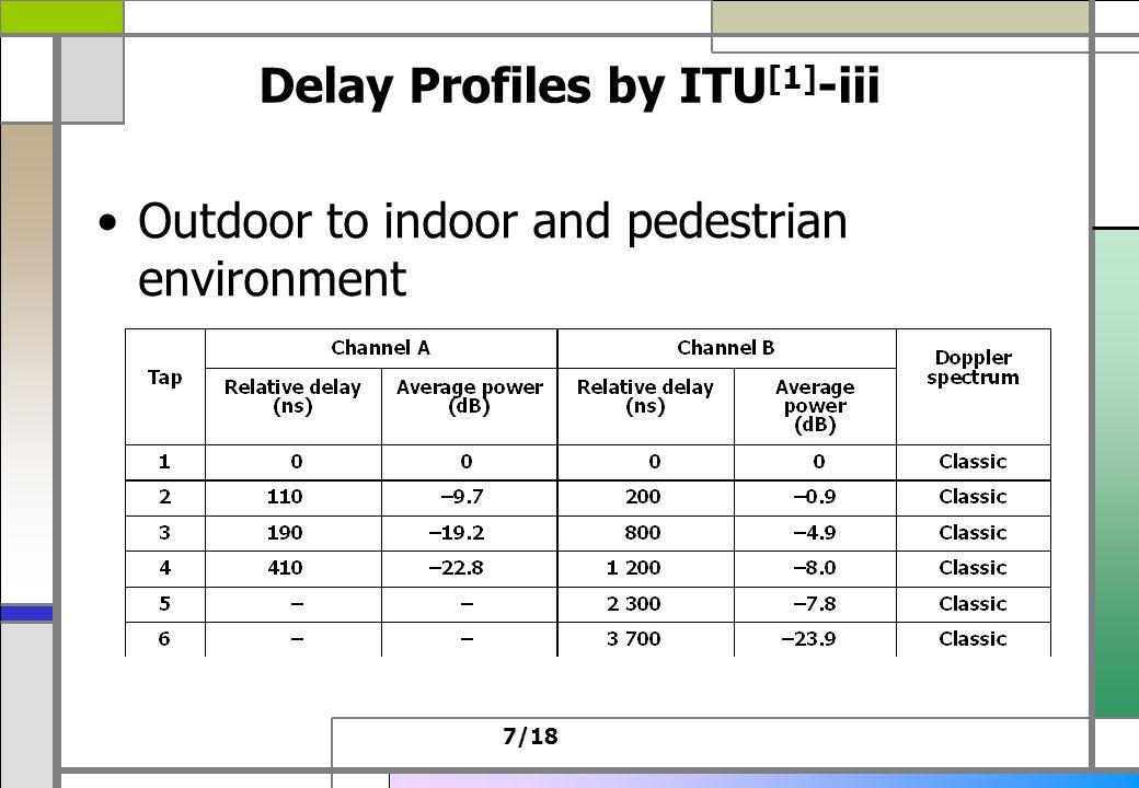 7/18 Delay Profiles by ITU [1] -iii Outdoor to indoor and pedestrian environment