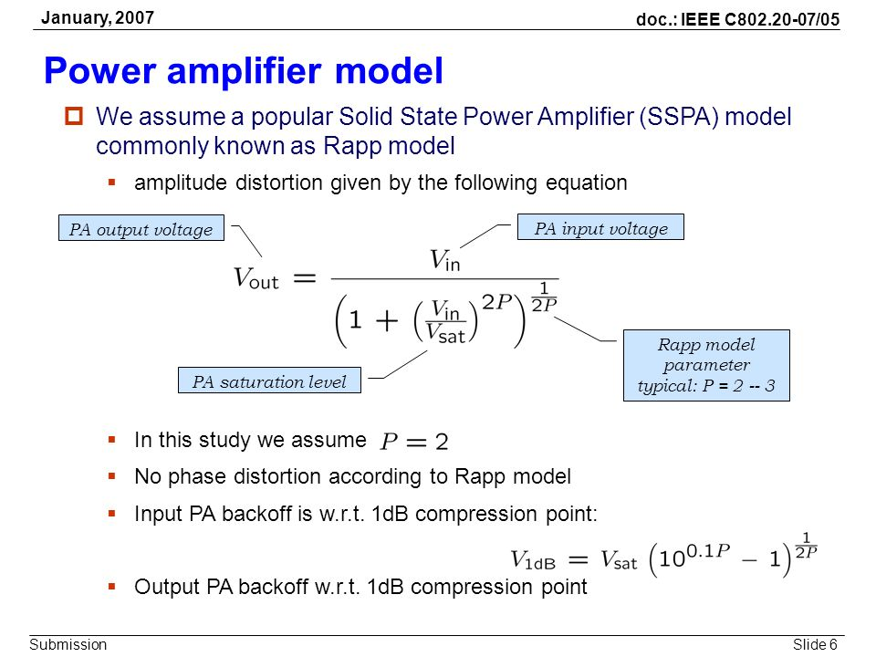 Slide 6 doc.: IEEE C802.20-07/05 Submission January, 2007 Power amplifier model We assume a popular Solid State Power Amplifier (SSPA) model commonly