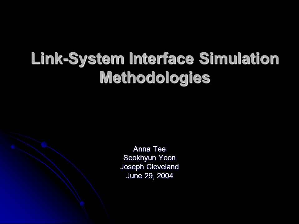 Topics Problem statements Problem statements Advantages & Requirements of a Link-System Simulation Interface (aka: PHY Abstraction) Methodology Advantages & Requirements of a Link-System Simulation Interface (aka: PHY Abstraction) Methodology General Overview of Methods used in other Communication Standards Organizations General Overview of Methods used in other Communication Standards Organizations Methods based on Shannons Theorem on Channel Capacity Methods based on Shannons Theorem on Channel Capacity Estimates on effective E b /N o for convolutional codes in fading channels Estimates on effective E b /N o for convolutional codes in fading channels Methods for OFDM based Systems Methods for OFDM based Systems Exponential Effective SIR Mapping Exponential Effective SIR Mapping Simulation Results for EESM Simulation Results for EESM References References