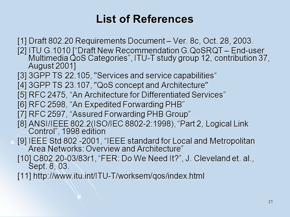 21 List of References [1] Draft 802.20 Requirements Document – Ver.