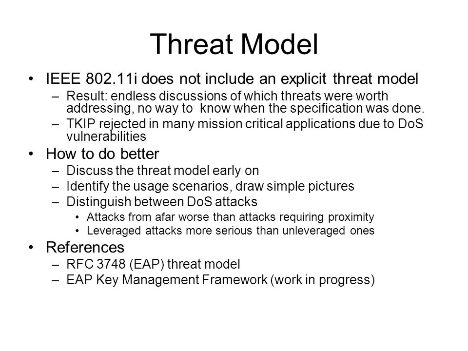 802.11 Phases - ESS STA … Probe Requests Probe Responses Pre-authentication Exchange Re-association Response 4-way handshake IAPP Discovery Reauthentication/ Reassociatation New AP Beacon APs Discovery Phase –STA scans for APs Passive (Beacon) Active (Probe Request/Response) –80-90% of roaming time spent in discovery Reauthentication phase –Authentication occurs prior to association –If already associated to another AP, STA can pre- authenticate to one or more APs Reassociation Phase –STA attempts to associate/reassociate to preferred AP Re-association Request ] IEEE 802.11i security only