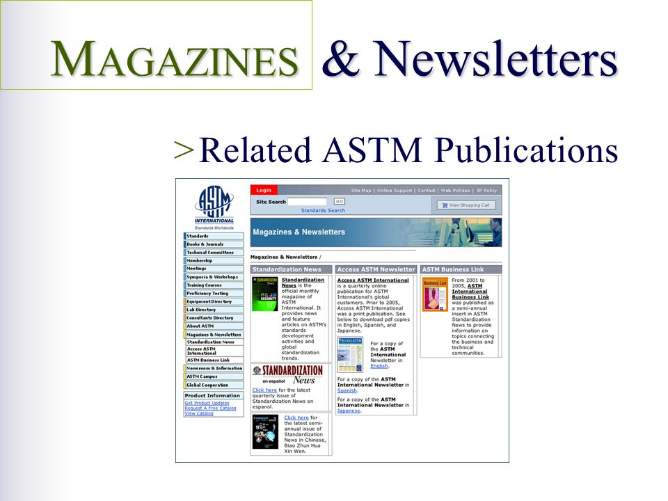 >Related ASTM Publications M AGAZINES & Newsletters
