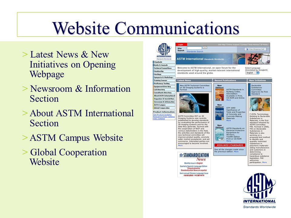 Website Communications > > Latest News & New Initiatives on Opening Webpage > > Newsroom & Information Section > > About ASTM International Section >