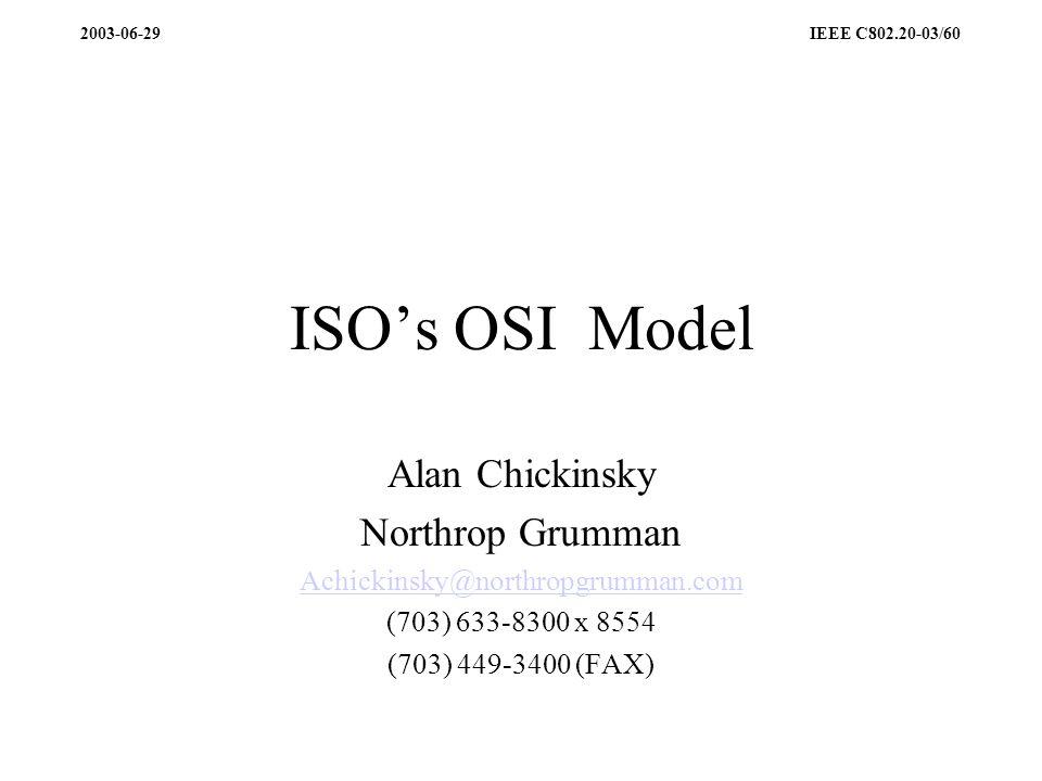 ISOs OSI Model Alan Chickinsky Northrop Grumman Achickinsky@northropgrumman.com (703) 633-8300 x 8554 (703) 449-3400 (FAX)