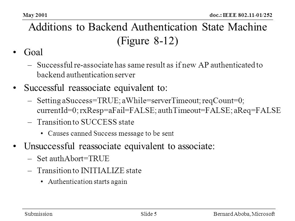 doc.: IEEE /252 Submission May 2001 Bernard Aboba, MicrosoftSlide 5 Additions to Backend Authentication State Machine (Figure 8-12) Goal –Successful re-associate has same result as if new AP authenticated to backend authentication server Successful reassociate equivalent to: –Setting aSuccess=TRUE; aWhile=serverTimeout; reqCount=0; currentId=0; rxResp=aFail=FALSE; authTimeout=FALSE; aReq=FALSE –Transition to SUCCESS state Causes canned Success message to be sent Unsuccessful reassociate equivalent to associate: –Set authAbort=TRUE –Transition to INITIALIZE state Authentication starts again