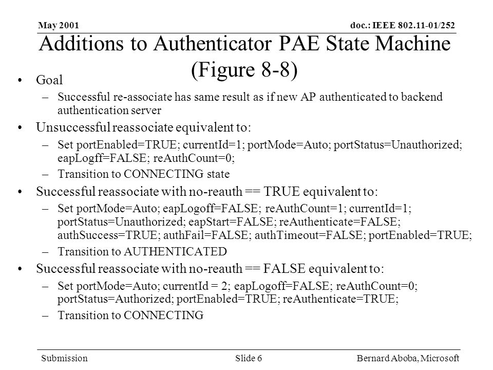 doc.: IEEE /252 Submission May 2001 Bernard Aboba, MicrosoftSlide 6 Additions to Authenticator PAE State Machine (Figure 8-8) Goal –Successful re-associate has same result as if new AP authenticated to backend authentication server Unsuccessful reassociate equivalent to: –Set portEnabled=TRUE; currentId=1; portMode=Auto; portStatus=Unauthorized; eapLogff=FALSE; reAuthCount=0; –Transition to CONNECTING state Successful reassociate with no-reauth == TRUE equivalent to: –Set portMode=Auto; eapLogoff=FALSE; reAuthCount=1; currentId=1; portStatus=Unauthorized; eapStart=FALSE; reAuthenticate=FALSE; authSuccess=TRUE; authFail=FALSE; authTimeout=FALSE; portEnabled=TRUE; –Transition to AUTHENTICATED Successful reassociate with no-reauth == FALSE equivalent to: –Set portMode=Auto; currentId = 2; eapLogoff=FALSE; reAuthCount=0; portStatus=Authorized; portEnabled=TRUE; reAuthenticate=TRUE; –Transition to CONNECTING